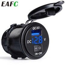 Quick Charge QC3.0 Dual USB Car Charger Cigarette Lighter Socket Splitter Power Adapter Digital Display Voltmeter Socket