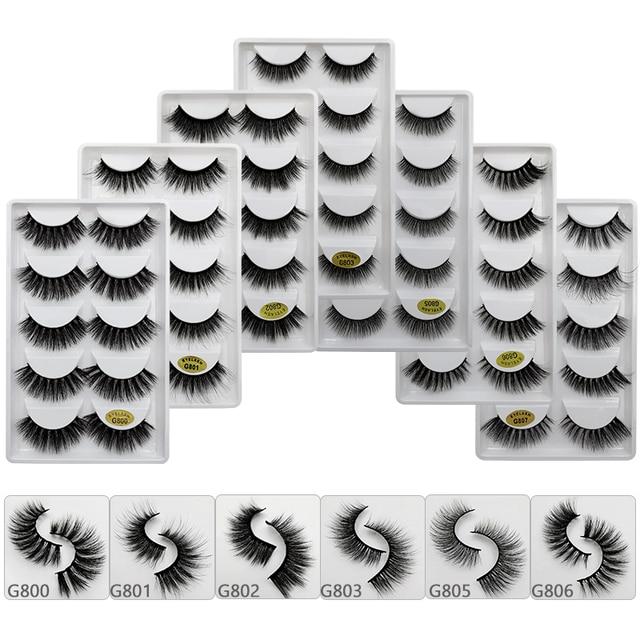 SHIDISHANGPIN 5 pairs eyelashes 3d mink lashes natural long 1 box mink eyelashes 1cm-1.5cm 3d false eyelashes full strip lashes 5