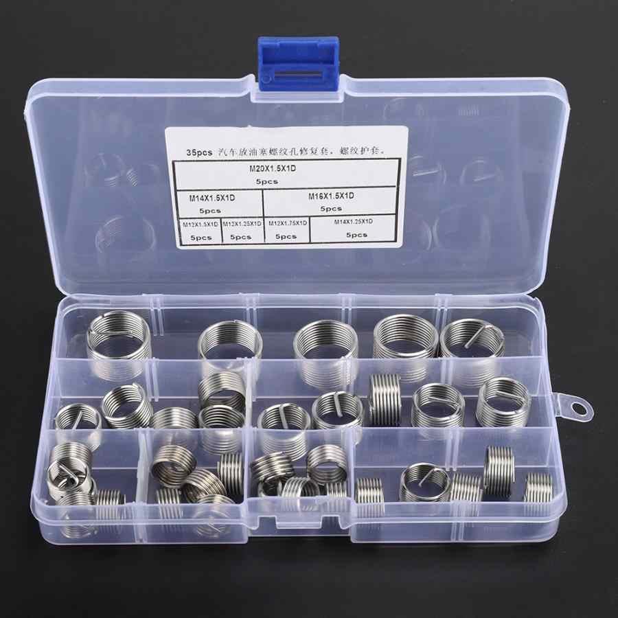 Juego de Herramientas de inserción de cable en espiral, 35 Uds., M12/M14/M16/M20, de reparación, roscada helicoidal, para envoltura de coche