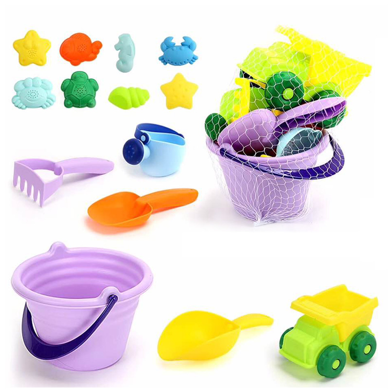 Hot-Summer Silicone Soft Baby Beach Toys Children'S Mesh Bag Bath Toy Set Beach Party Stroller Duck Bucket Sand Mold Tool Water