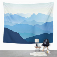 Landscape Tapestry Blue Misty Silhouettes Of Mountains Home Dorm Decor Big Tapestry Wall Hanging Blanket For Living Room Bedroom hanging mountains boat lake wall tapestry