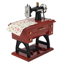 цены Trumpet Sewing Machine Music Box Retro Nostalgic Music Box Cute Mini Sewing Machine Music Box Table Home Decor
