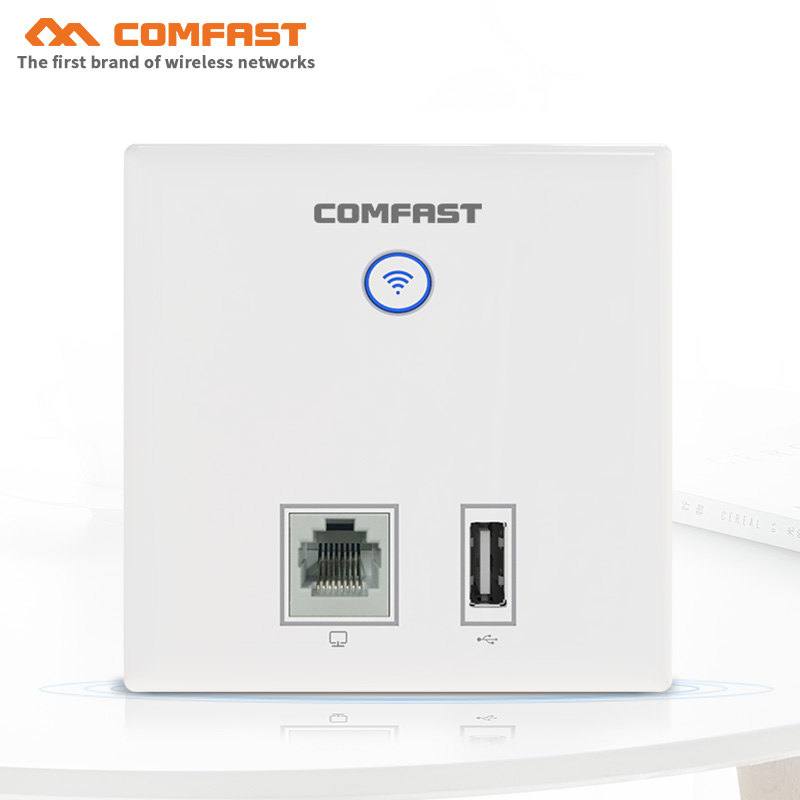 COMFAST CF-E537AC Wireless AP 750Mbps In Wall AP 802.11AC 2.4+5.8G RJ45 RJ11 Hotel Wifi Project AP Support AC Management WiFi AP