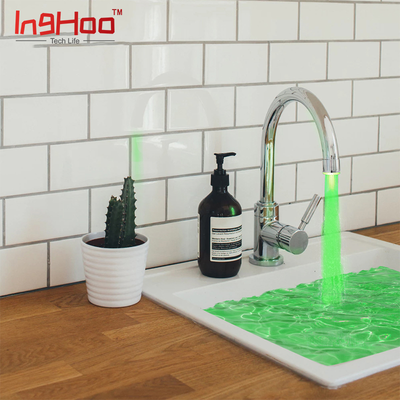 Inghoo Colorful LED Water Faucet Light 3 Changes Color Depending on water temperature for Kitchen Bathroom Washing Shower 5