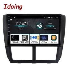 Idoing-Radio Multimedia con GPS para coche, Radio con reproductor, Android, 1DIN, 9 pulgadas, para Subaru, Forester, WRX, 2004-2012, 4G + 64G, unidad principal de navegación QLED