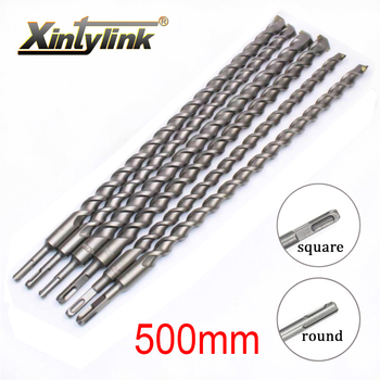 xintylink 500mm Chrome steel percussion drill bit Cement drill hole saw Wall Drill Square shank for Building site 500mm sds max electric hammer impact drill bit total length 500mm