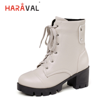 HARAVAL Luxury Woman Ankle Boots Handmade Genuine Leather Round Toe Square Heel Shoes Classic Lace up Casual Solid Boots B279 стоимость