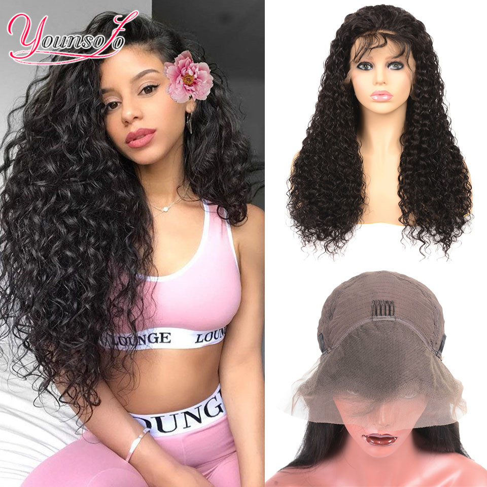 Younsolo 13x4 Lace Front Human Hair Wigs For Black Women Remy Brazilian Water Wave Lace Front Wig Pre Plucked With Baby Hair