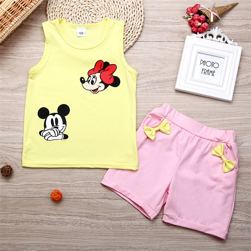 Children Clothes Baby Girls T-shirt Mickey Minnie Cartoon Cotton Set Bow For Tops Shorts Infant Two-piece Summer Cute Leisure