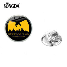 SONGDA Hip Hop Rap musique wu-tang Clan Badge broches costume robe chapeau collier broches écharpe boucles accessoires broches en métal mode(China)