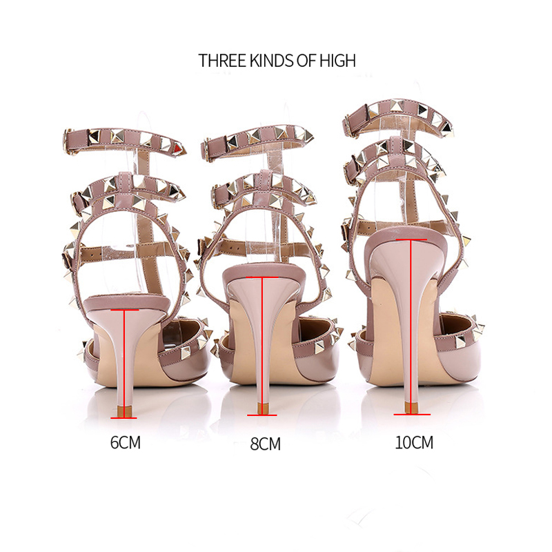 Women's Pumps New Fashion Leather Rivet High Heels Shoes Pointed Toe Shallow Mouth Sexy Ladies High-Heeled Single Shoes Sandals