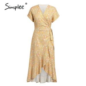 Image 5 - Simplee Floral print women dress Sexy wrap ruffled sash high waist summer dress Casual holiday bodycon v neck beach dress 2020