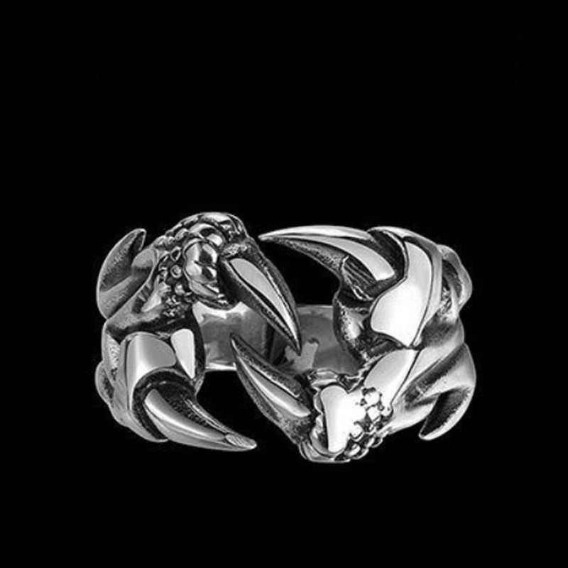 Retro Gothic Punk Men Rings Trendy Skull Wolf Dragon Male Rings Jewelry Halloween Accessories