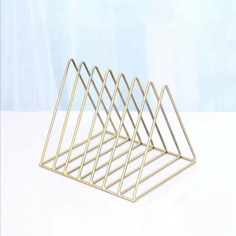 Nordic triangle simple wrought iron desktop storage rack shelf file magazine storage box office rack jewelry(gold)