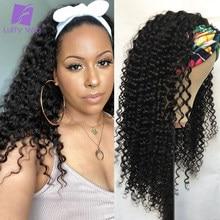 200% densidade encaracolado bandana peruca brasileira remy cabelo humano máquina feita metade perucas glueless cor natural para preto luffywig