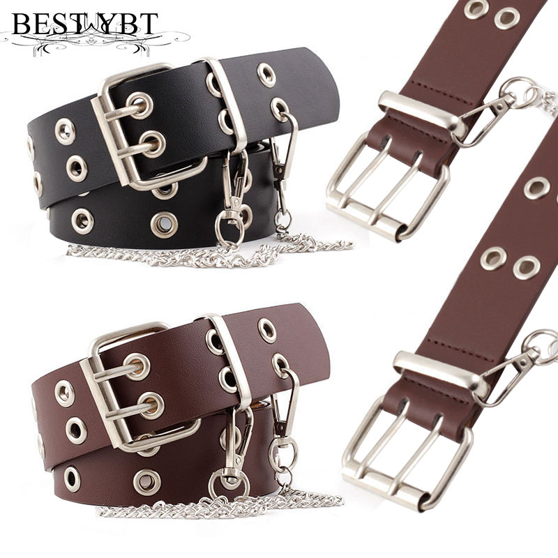 Best YBT Women Belt Imitation Leather Pin Buckle Belt New Punk Wind Jeans Fashion Individual Decorative With Chain Women Belt