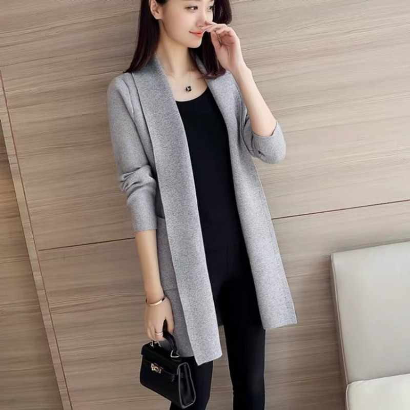 Outono inverno solto elegante malha cardigan manga longa cor sólida casual camisola harajuku coreano jumper casaco