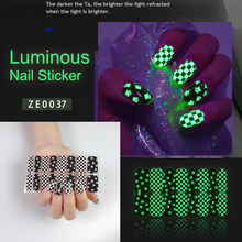 New Arrival Glow In The Dark Nail Sticker Nail Christmas Stickers For Nail Art Decoration Luminous Nail Stickers Design Green