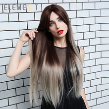 Element Synthetic Long Straight Ombre Brown to Grey Wigs with Bangs for White/Black Women Heat Resistant Cosplay Party Wigs
