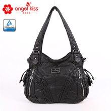 Модная высококачественная повседневная дизайнерская сумка хобо, женские сумки, сумки из мытой искусственной кожи, сумки слинги на плечо для женщин