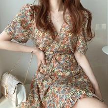 S-XL 2020 Plus Size New Summer Dress Girls Boho Party Female Vintage Dress chiffon Print short Sleeve Women Dresses Robe Vestido