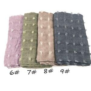 Image 5 - M3 High quality dyed printed crinkle hijab plain viscose scarf hijab shawl women long  scarf/scarves 10pcs   180*90cm