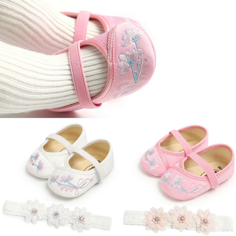 Girl Casual Shoes Newborn Baby Cloth Soft Baby Flower Crib Shoes Slip-on Prewalker Shoe+headband 0-18 Months