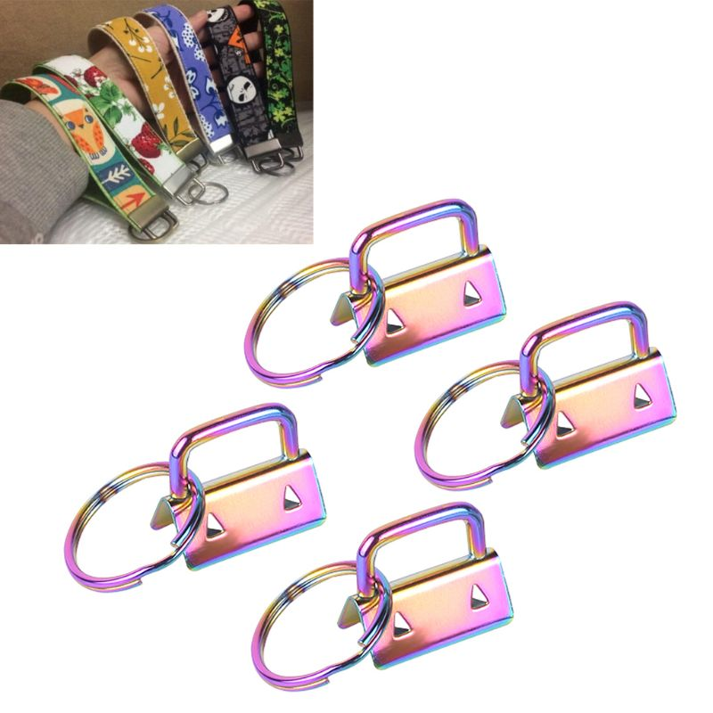 4Pcs Key Fob Hardware 25mm Colorful Vacuum Plating Keychain Split Ring For Wristlets Cotton Tail Clip Webbing Hardware Accessory