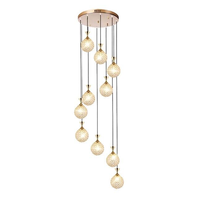 Escalier en colimaçon lustre long lustre Villa duplex étage salon restaurant moderne minimaliste maison cristal suspension