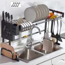 2 Tiers Dish Drainer Stainless Kitchen Dish Rack Storage Shelf Washing Holder Basket Plated Knife Sink Drying Organizer Tools