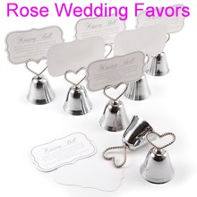 (50pcs/lot)FREE SHIPPING+Christmas Party Favor Kissing Bell Place Card Holders in Silver or Golden Color Wedding Favors