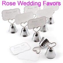 Lote de 50 unidades de tarjeteros con forma de campana para fiestas de Navidad, en Color plateado o dorado, recuerdo de boda