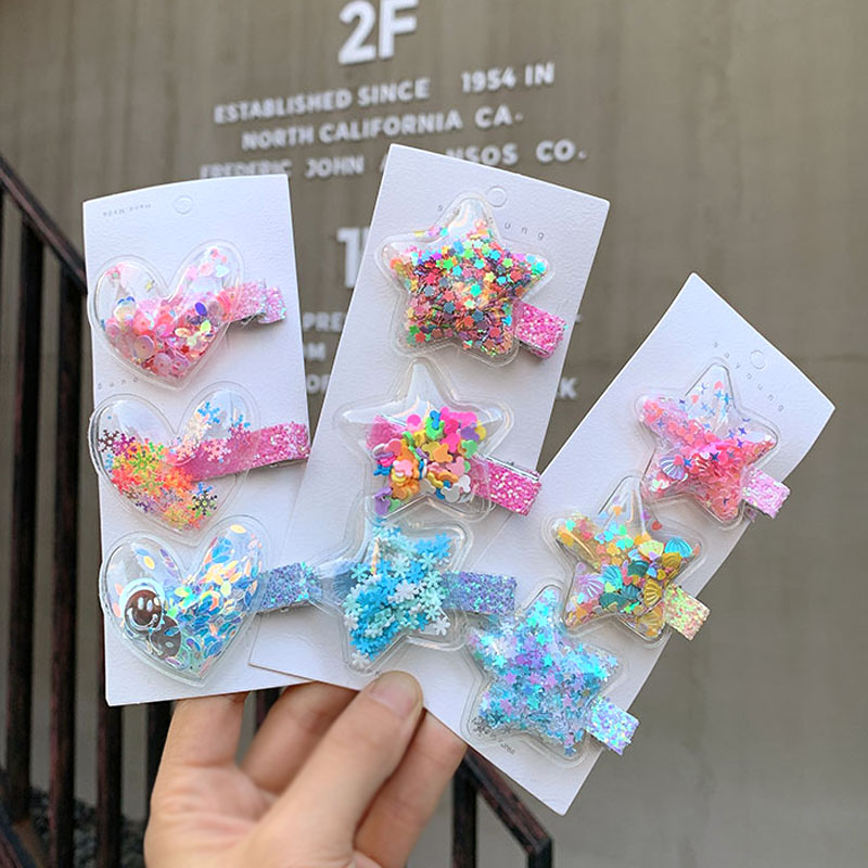 2020 New Sequin Quicksand Princess Hairpin Girls Children Kids Hair Clips Barrettes Accessories Hair Ornament Hairclip Headdress