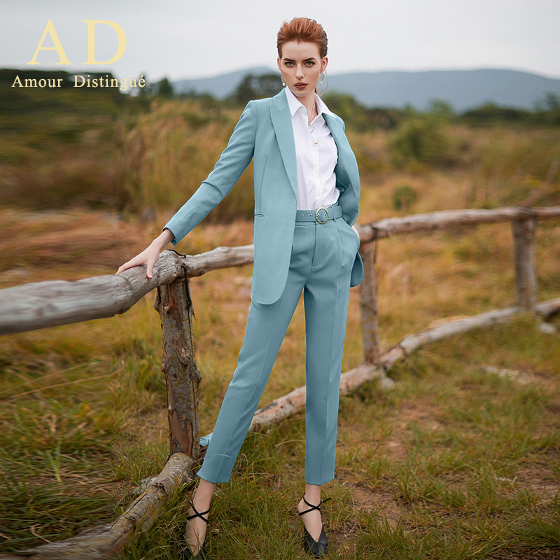 Women S Office Suits Set Professional Female Business Lady Suit Plus Size Baby Blue Blazer Pant Designer Tailored 2019 Free Ship