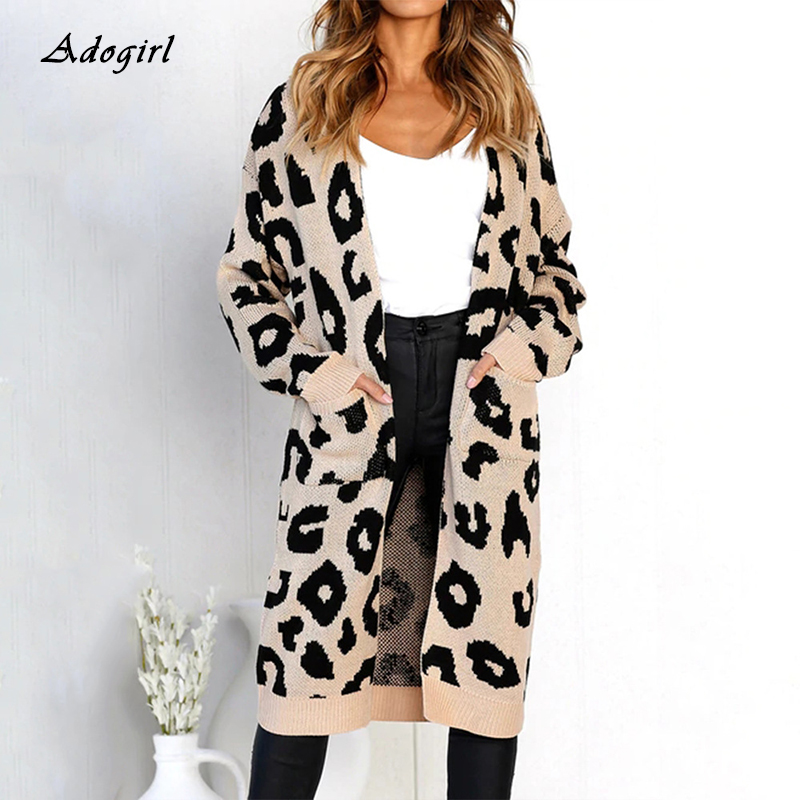 Casual Leopard Print Cardigan Sweater Coat Women Elegant Long Sleeve With Pocket Long Sweaters Autumn Winter Outwear Warm Coat