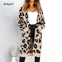 Casual Leopard Print Cardigan Sweater Coat Women Elegant Long Sleeve With Pocket