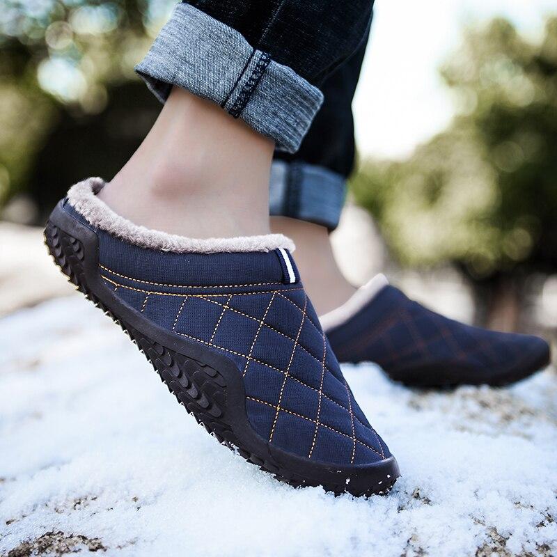 CYYTL hiver hommes chaud fourrure maison pantoufles homme imperméable doux chaussures antidérapant intérieur en cuir Couple neige Pantuflas Hombre Sloffen