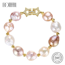 DOTEFFIL Genuine Natural Freshwater Pearl Bracelets Bangles For Women Shaped Oversized pearl 925 Silver Gilt Clasps Jewelry Gift doteffil genuine natural freshwater pearl bracelets fine jewelry bangles for women 6 7mm pearl oval 925 silver pearl clasps gift