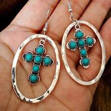 Moda boho cruz turquesa crochê brincos para as mulheres 2020 do vintage grande oval declaração brinco melhor presente jóias indiano d375