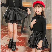 Mini Skirts Lace Faux-Leather Toddler Baby Princess Children's 3-13years Autumn Winter