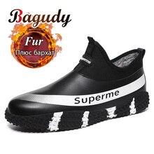 Botines de moda de felpa para hombre, zapatillas impermeables, antideslizantes, de cuero, para invierno, 39 48