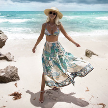 Tassels Summer Skirt Peacock Printing Skirts  Gonne Lunghe Womens High Waist