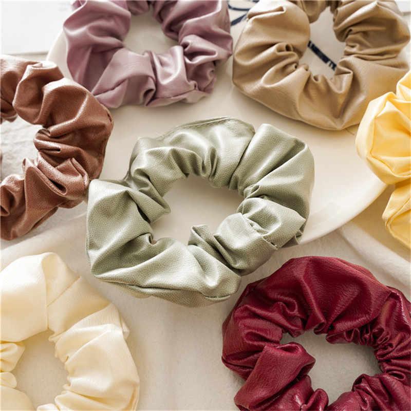 Ruoshui ผู้หญิงฤดูใบไม้ร่วงฤดูหนาว PU แหวนผมหญิง Candy สี Scrunchies สุภาพสตรี Hair TIES อุปกรณ์เสริมผม GUM เชือก
