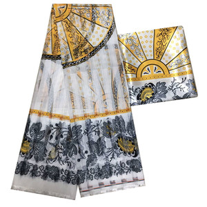 Image 5 - Hot sale Gahna Style satin silk fabric  with organza ribbon African wax design ! J70825