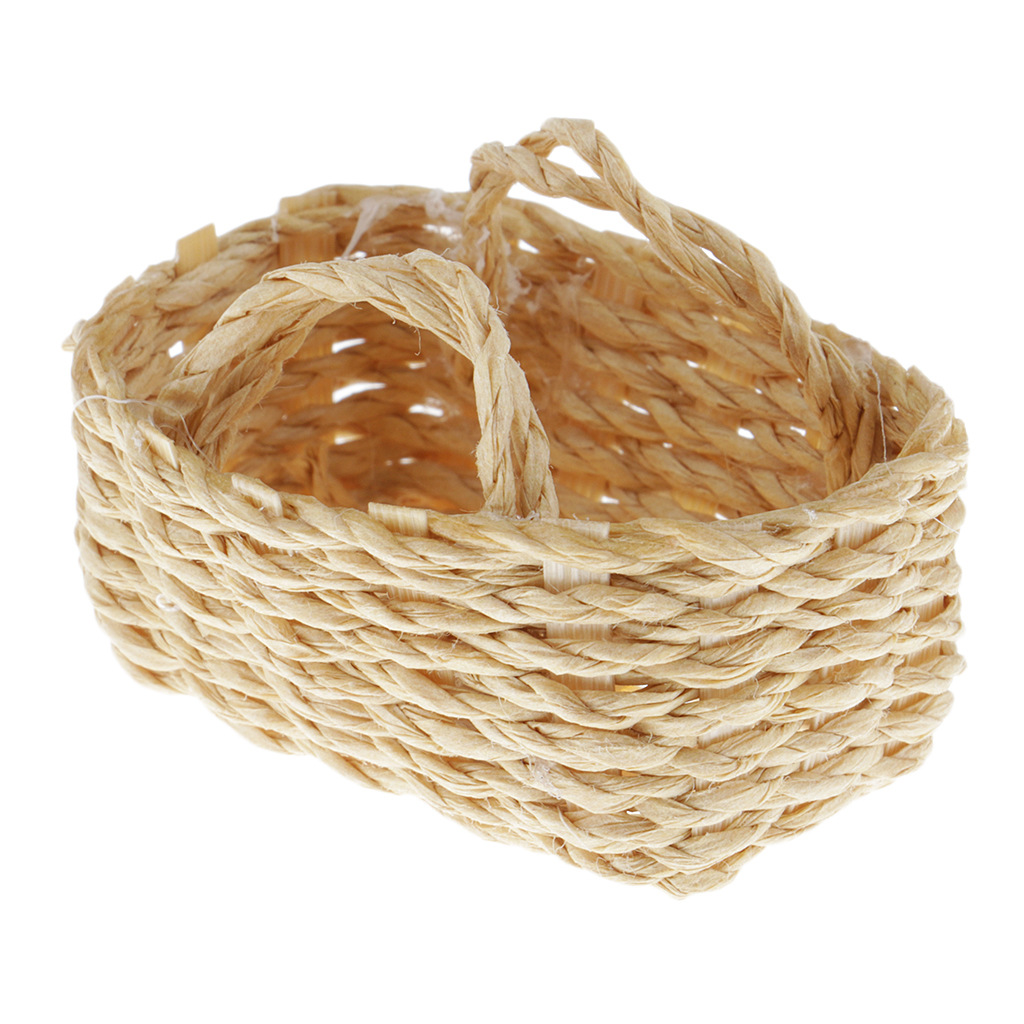 1//12 Dollhouse Miniature Bamboo Baskets Hand Woved Wicker Basket Ornaments