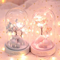 LED Deer Cartoon Night Light Glass Resin Floral Lamps Fairy Lights Bedroom Decor Lights Children Baby Kids Birthday Xmas Gift