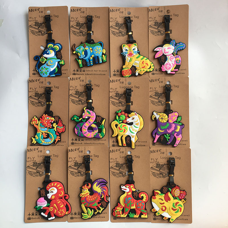 1pcs Chinese Zodiac Anime Travel Brand Luggage Tag Suitcase ID Address Portable Tags Holder Baggage Labels New