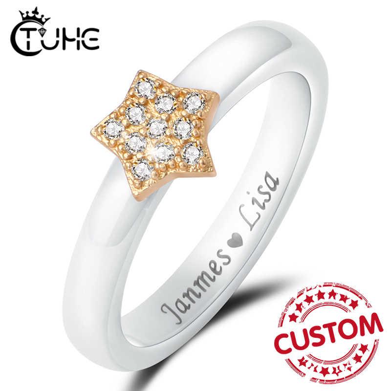 Здоровые ювелирные изделия, индивидуальный подарок, выгравированное имя логотипа, керамические кольца для женщин, юбилейные ювелирные изделия, розовый, голубой, фиолетовый