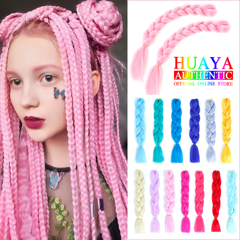 HUAYA Ombre Color Jumbo Braids  Crochet Braids Braiding Hair Extensions High Temperature Fiber For Women's Wig  24