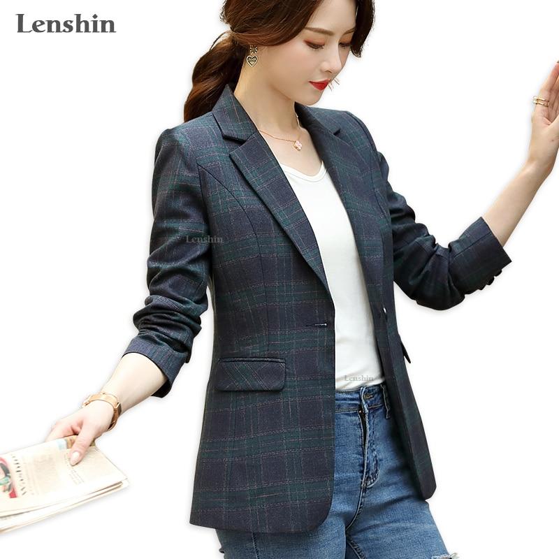 Lenshin Women Elegant Plaid Jacket Long Sleeve Gird Blazer Fashion Work Wear Keep Slim Office Lady Coat Outwear Single Button